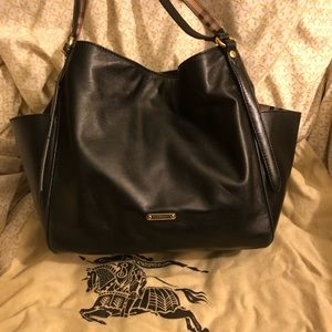 Burberry Checked-Trimmed Lambskin Canterbury Tote